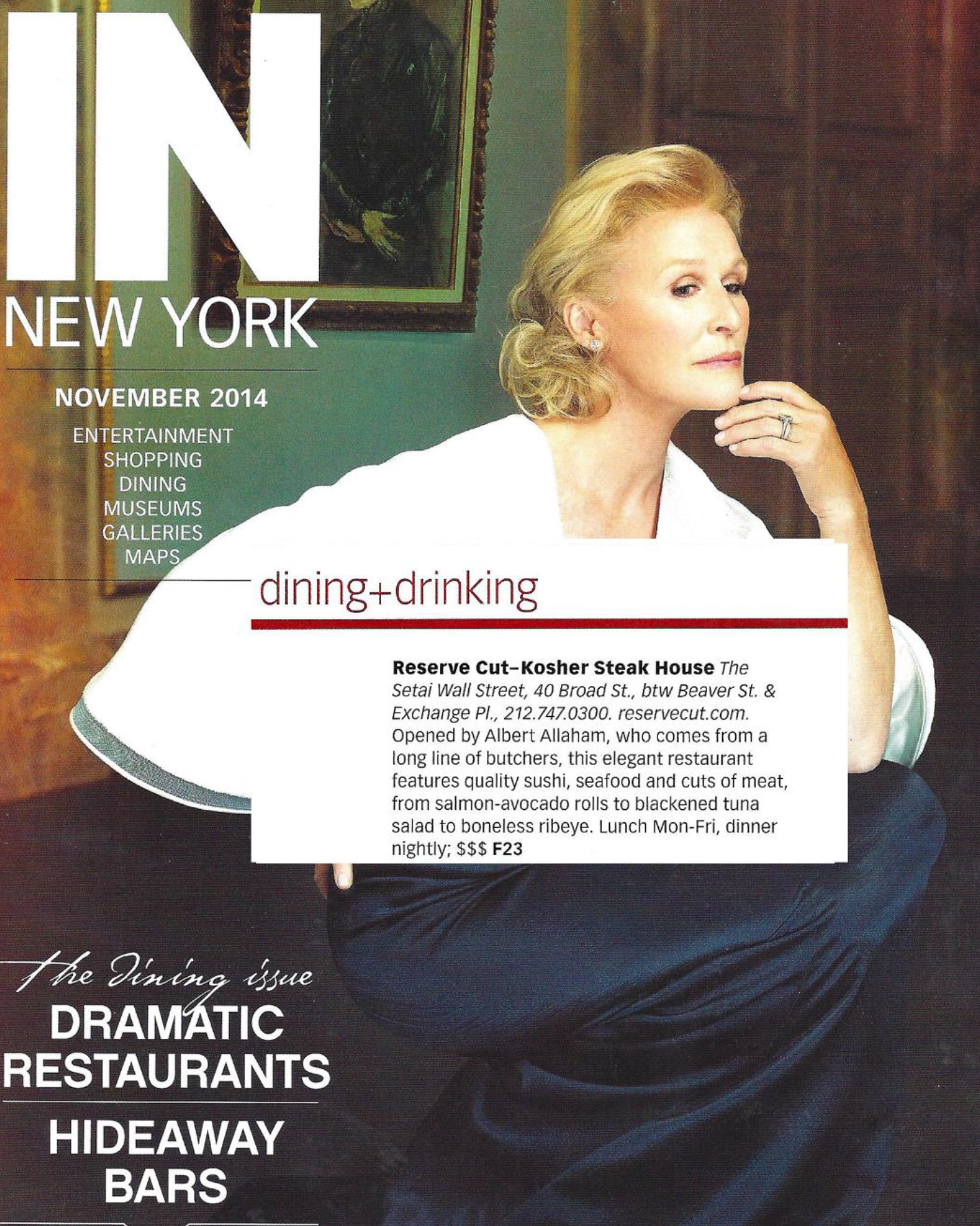 Reserve Cut In New York Magazine November 2014 Dining And Drinking Issue
